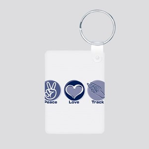 Peace Love Track Aluminum Photo Keychain
