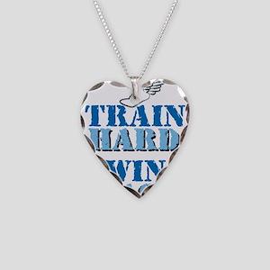 Train Hard - Track Necklace Heart Charm