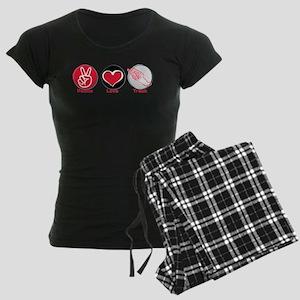 Peace Love Track Red Women's Dark Pajamas