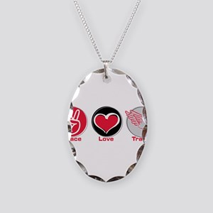 Peace Love Track Red Necklace Oval Charm