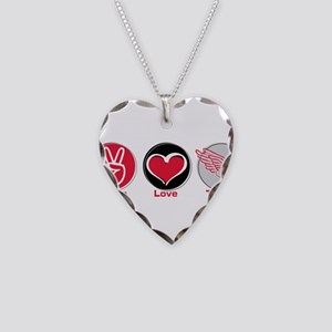 Peace Love Track Red Necklace Heart Charm