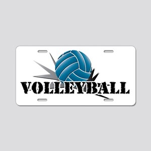 Volleyball starbust blue Aluminum License Plate