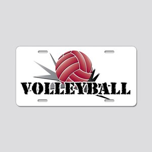 Volleyball starburst red Aluminum License Plate