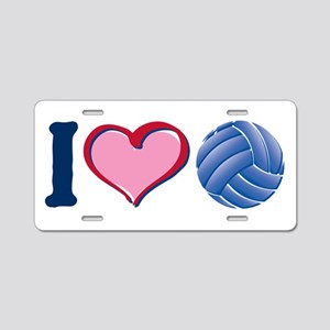 I Heart V-Ball Aluminum License Plate