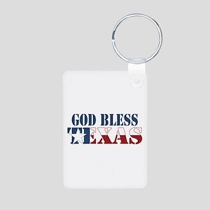 God Bless Texas Aluminum Photo Keychain
