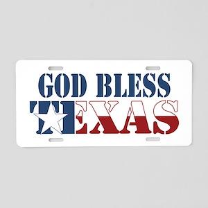 God Bless Texas Aluminum License Plate