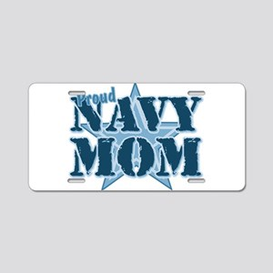 Proud Navy Mom Aluminum License Plate