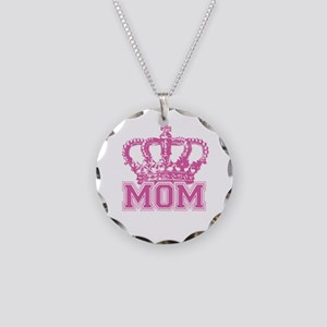 Crown Mom Necklace Circle Charm