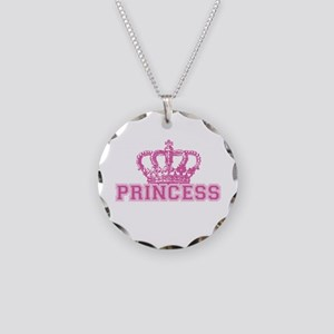 Crown Princess Necklace Circle Charm