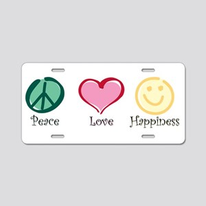 Peace Love Happiness Aluminum License Plate