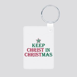 Keep Christ star Aluminum Photo Keychain