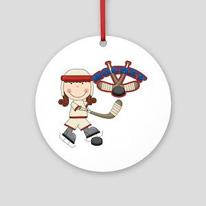 Brunette Girl Hockey Player Ornament (Round)