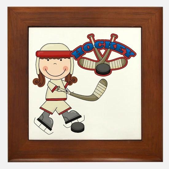Brunette Girl Hockey Player Framed Tile