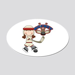 Brunette Girl Hockey Player 22x14 Oval Wall Peel