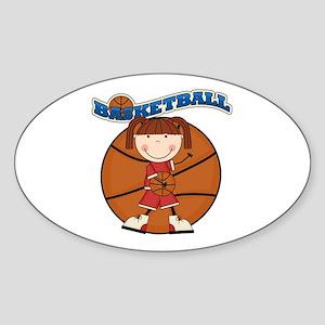 Brunette Girl Basketball Sticker (Oval)