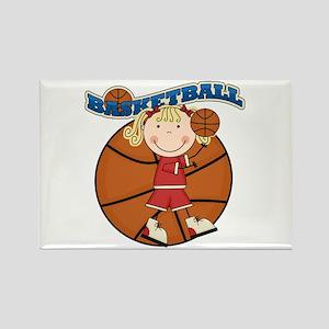 Blond Girl Basketball Rectangle Magnet
