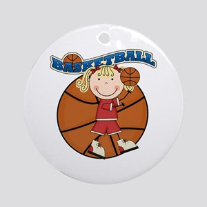 Blond Girl Basketball Ornament (Round)