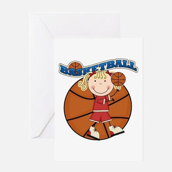 Blond Girl Basketball Greeting Card
