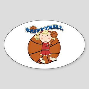 Blond Girl Basketball Sticker (Oval)