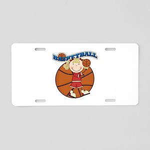 Blond Girl Basketball Aluminum License Plate