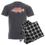 Strawberry Grouper Men's Charcoal Pajamas