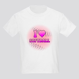 I Love Softball (Pink Softball) Kids Light T-Shirt