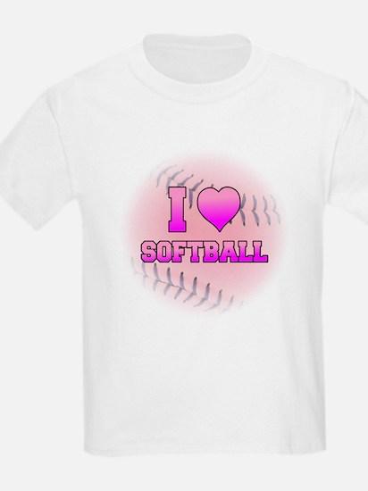I Love Softball (Pink Softball) T-Shirt