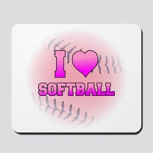 I Love Softball (Pink Softball) Mousepad