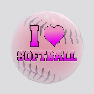 I Love Softball (Pink Softball) Ornament (Round)