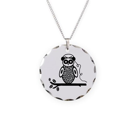 Otis the Owl Necklace Circle Charm