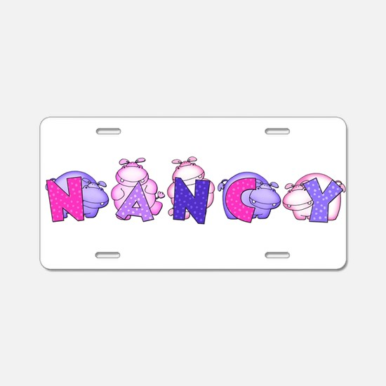 Nancy in Hippos Aluminum License Plate