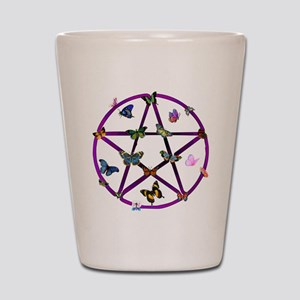 Wiccan Star and Butterflies Shot Glass