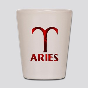 Red Aries Symbol Shot Glass