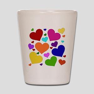 Rainbow Hearts Shot Glass