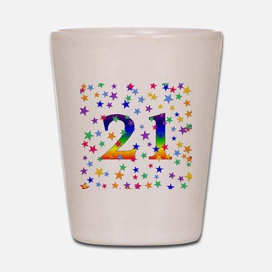 Rainbow Stars 21st Birthday Shot Glass