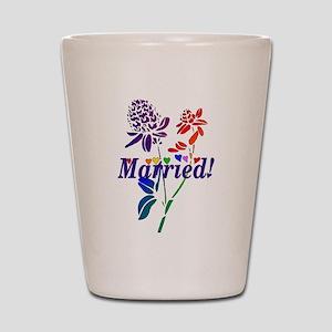 Married Rainbow Flowers Shot Glass