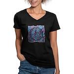 Women's V-Neck Dark T-Shirt - The Flower Of Life
