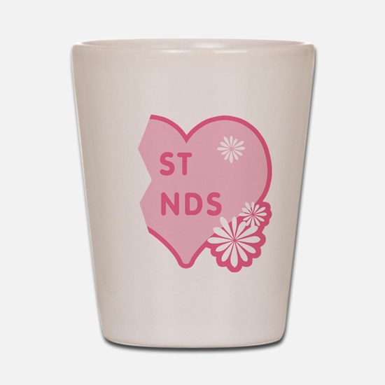 Pink Best Friends Heart Right Shot Glass