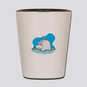 Cute Wading Hippo and Ducky Shot Glass