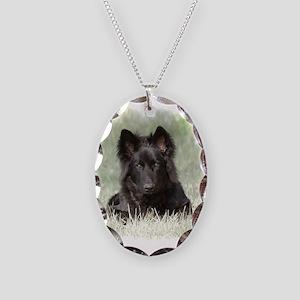 Long Coated German Shepherd Necklace Oval Charm