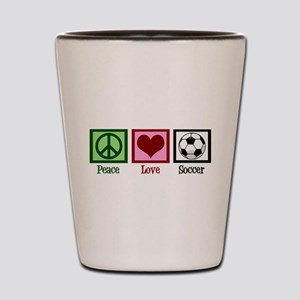 Peace Love Soccer Shot Glass