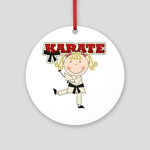 Blond Girl Karate Kid Ornament (Round)