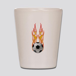 Soccer fire Shot Glass