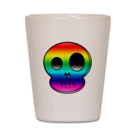 Little buddy rainbow skull Shot Glass