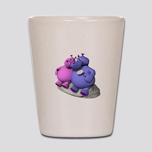 Hippos in Love Shot Glass
