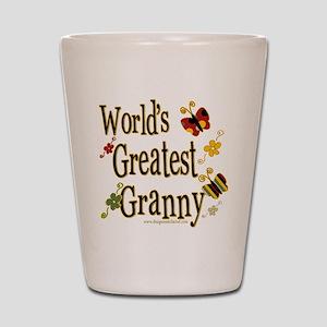 Granny Butterflies Shot Glass