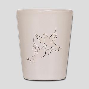 White Doves Shot Glass