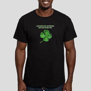 4 Leaf Clover Luck Men's Fitted T-Shirt (dark)
