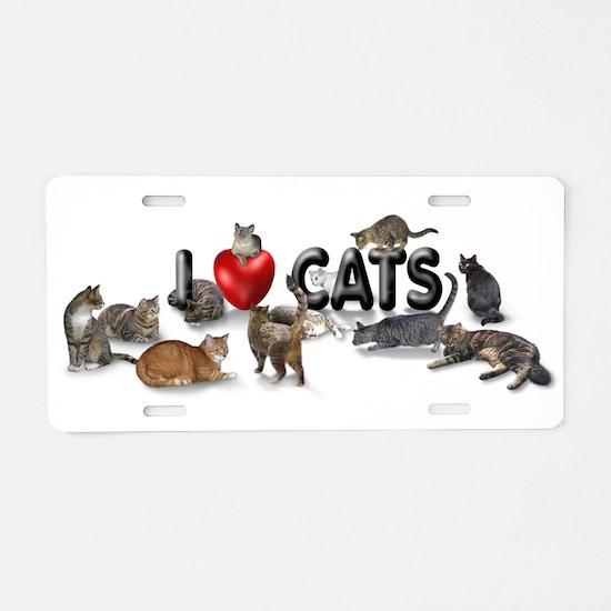 "Aluminum License Plate ""I Love Cats"""