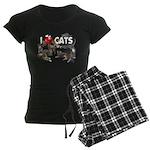 "Women's Dark Pajamas ""I Love Cats"""
